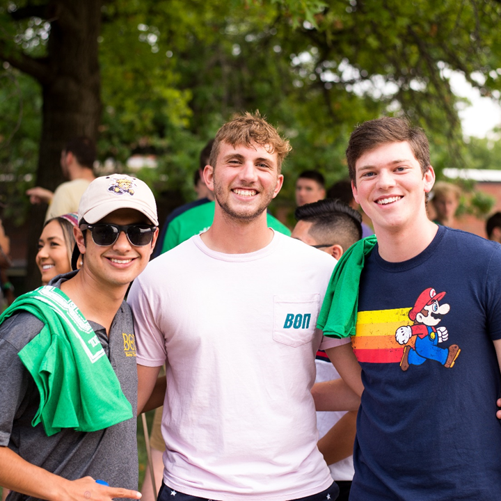 Students post and smile at Back to School Bash, August 2018