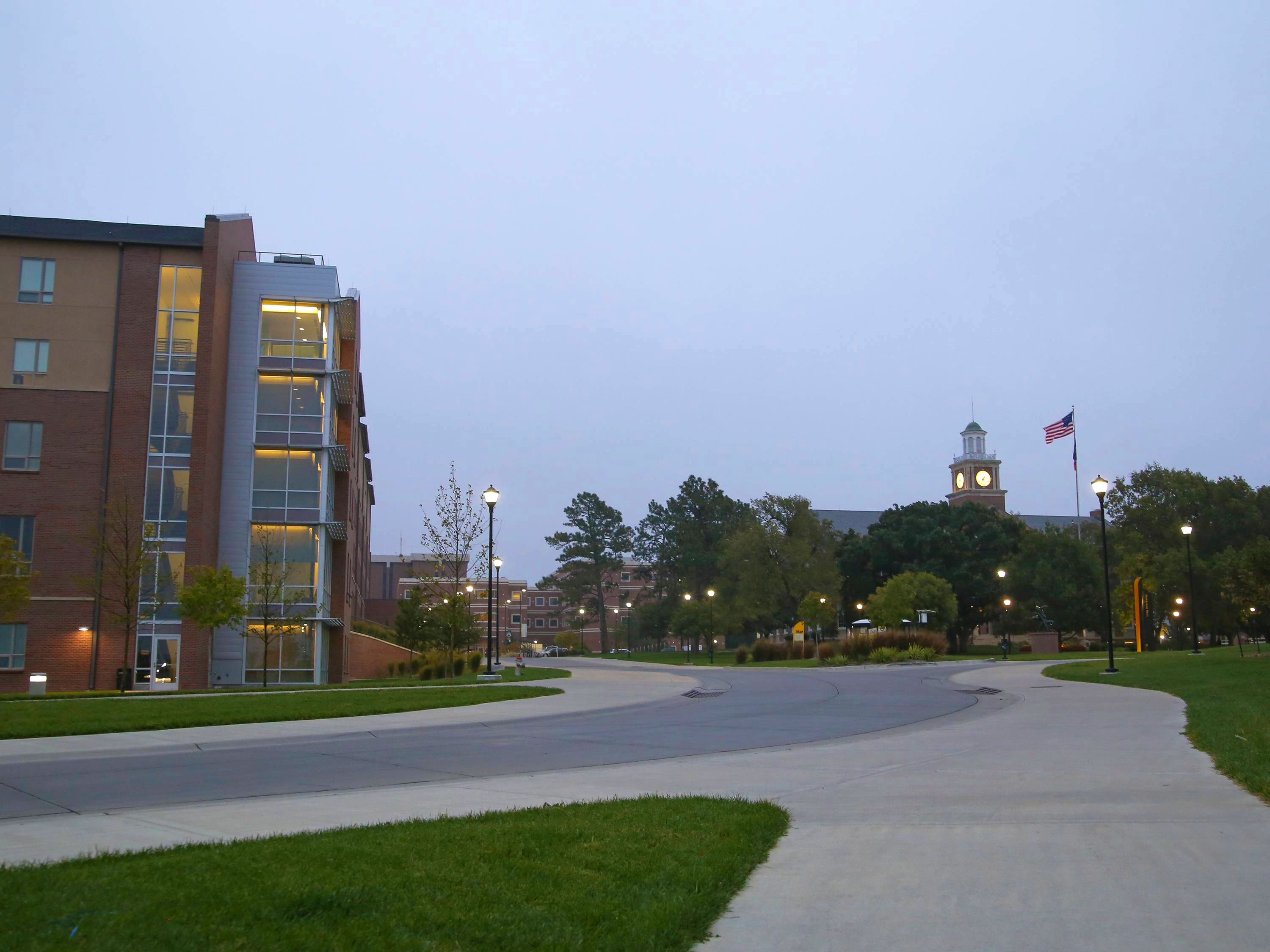 View of campus on a clear evening.