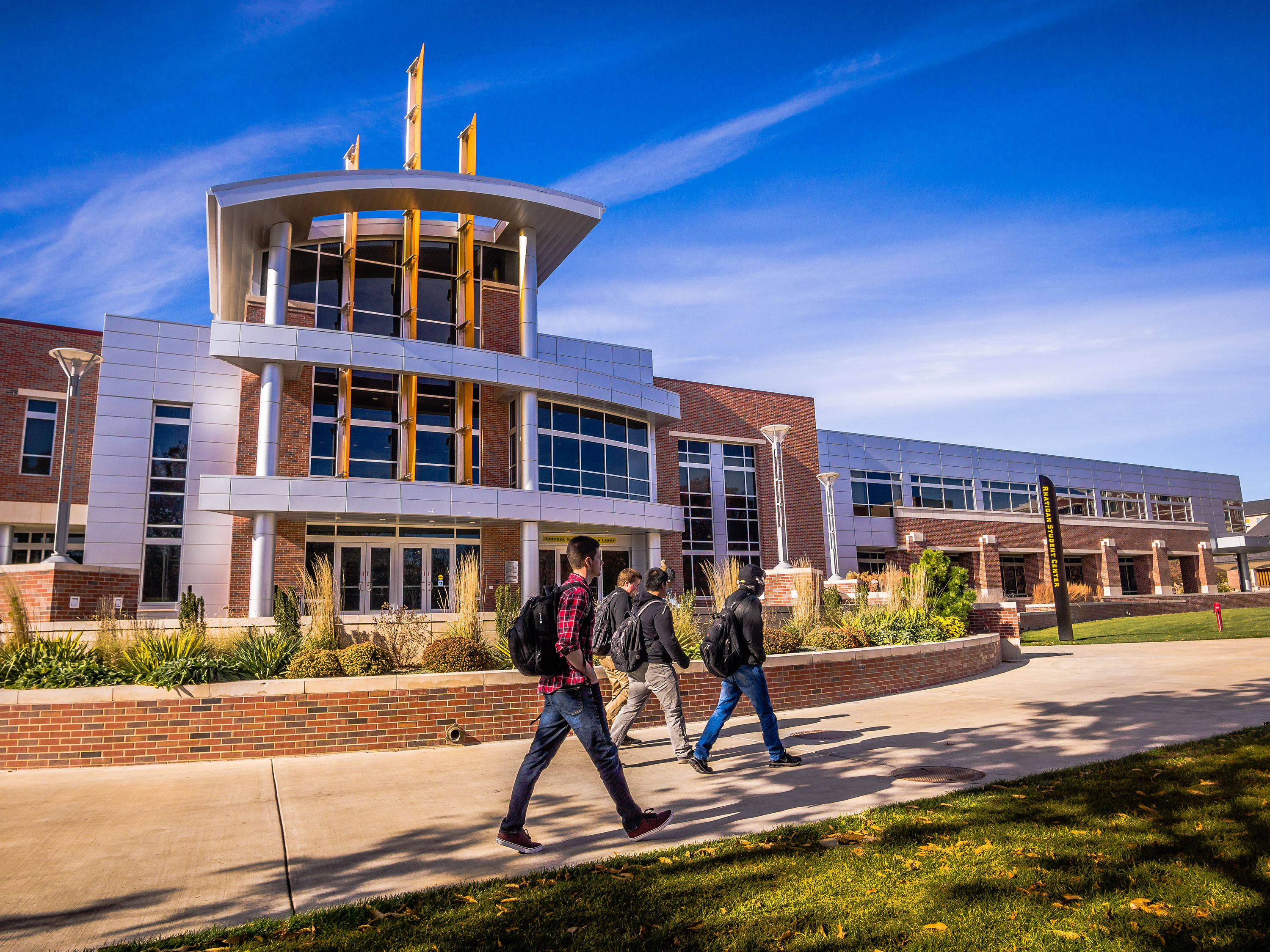 Students walking by the Rhatigan Student Center