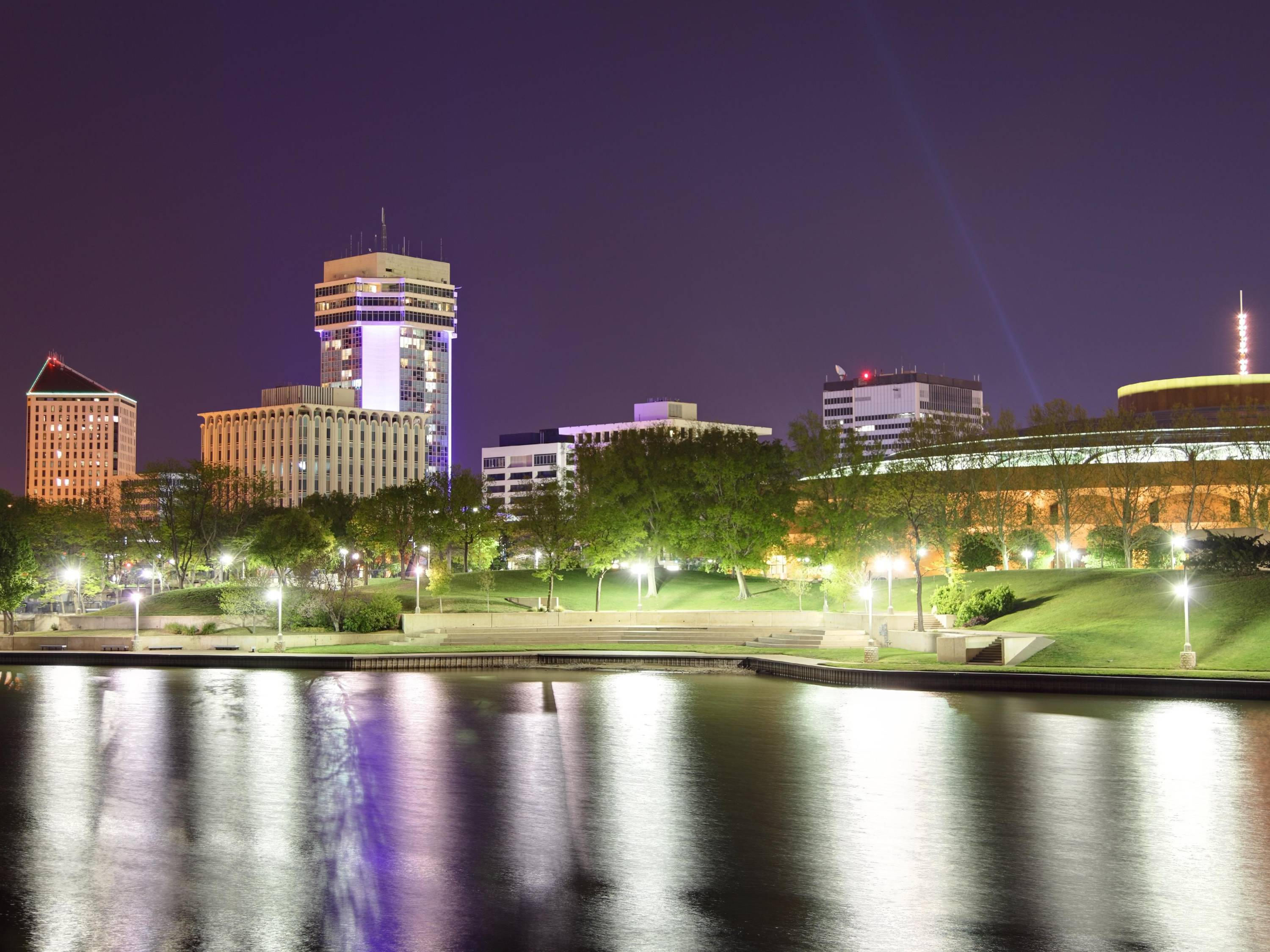Downtown Wichita skyline with river.