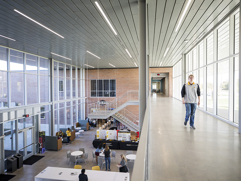Second floor overlooking the lobby of the Experiential Engineering building.