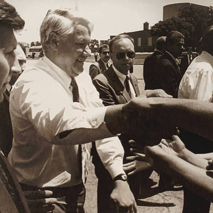 Russian President Boris Yeltsin shakes hands with students at Wichita State during a 1992 appearance
