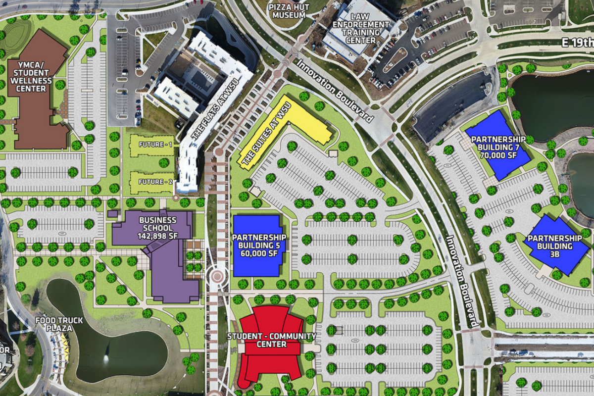 New business school location on campus map.
