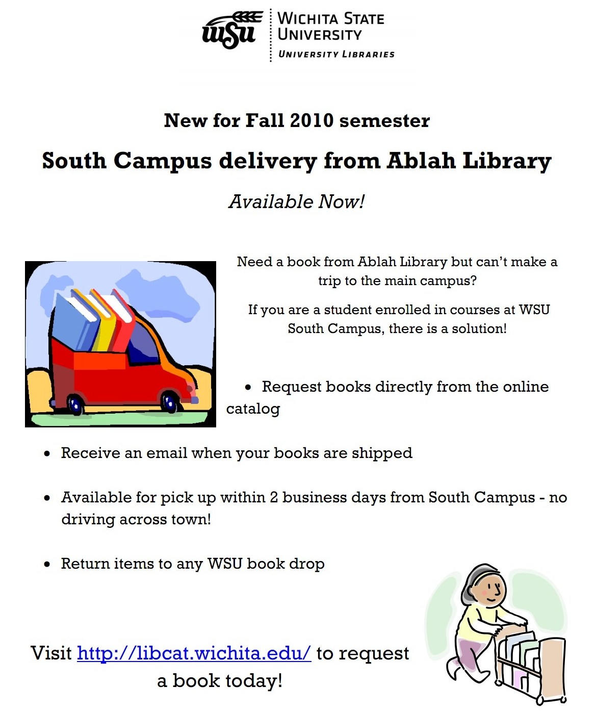 Flier graphic for Ablah Library deliveries
