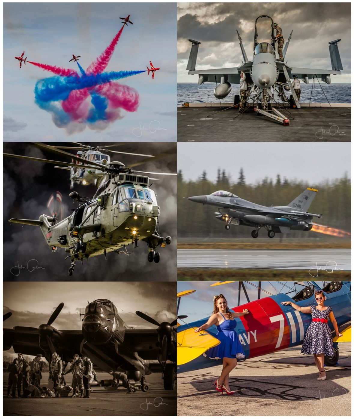Samples of John Gabor's photography work featuring military and civilian aircraft.