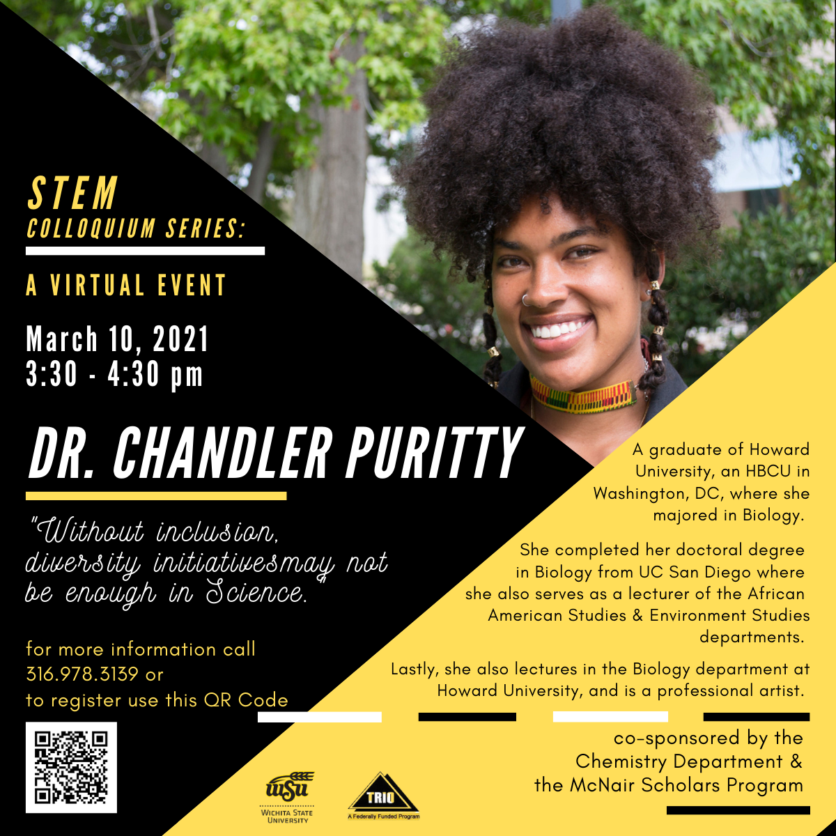 Dr. Chandler Puritty event poster