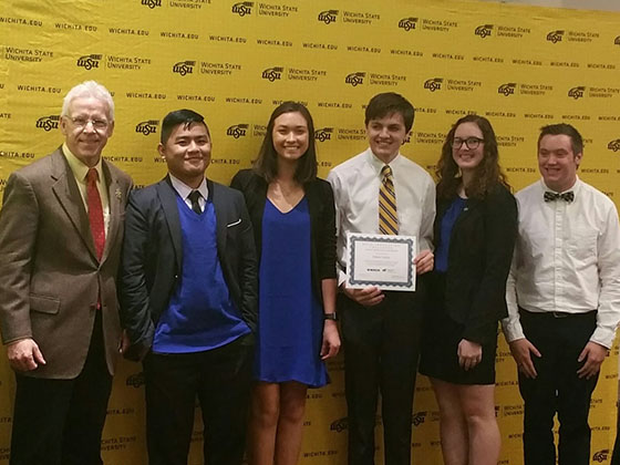 One of the winning student teams, with team members Christian Ammerman, Mikah Betterton, Maggie Brown, Noah Foster, Thanh Nguyen.