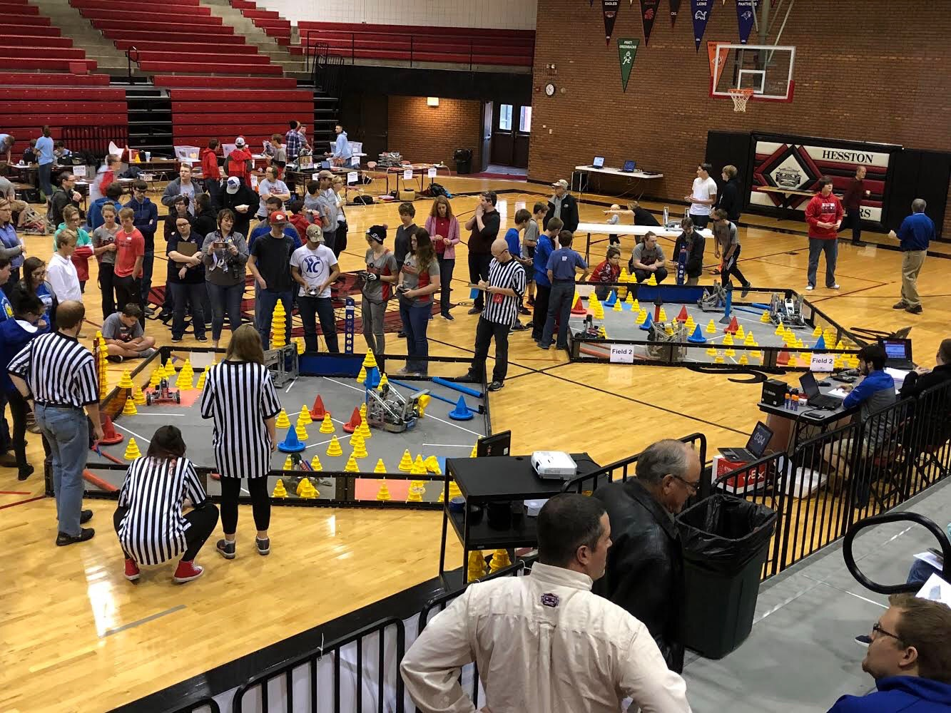 High school students compete at a regional VEX Robotics Competition in Hesston in November. The state-qualifying VEX event will be held at WSU on Feb. 23, along with the state VEX IQ Challenge, an event for younger children.