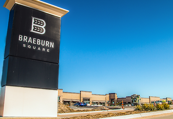 Two developer-owned restaurant/retail buildings are under construction in Braeburn Square and will be ready for tenants to begin interior improvements in March.