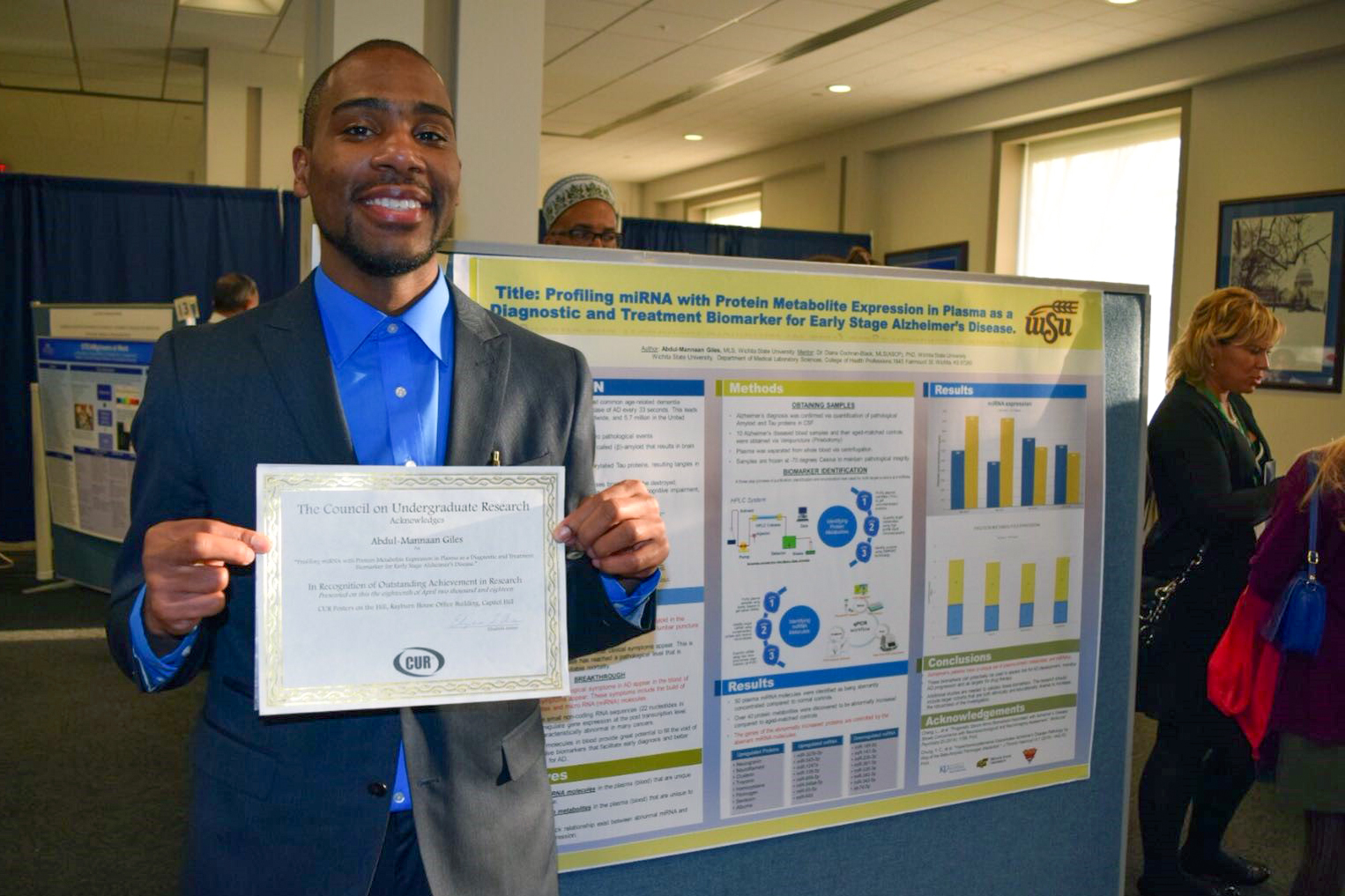 Abdul-Mannaan Giles was invited to present his Alzheimer's research projects at Harvard University and on Capitol Hill., Abdul-Mannaan Giles was invited to present his Alzheimer's research projects at Harvard University and on Capitol Hill.,