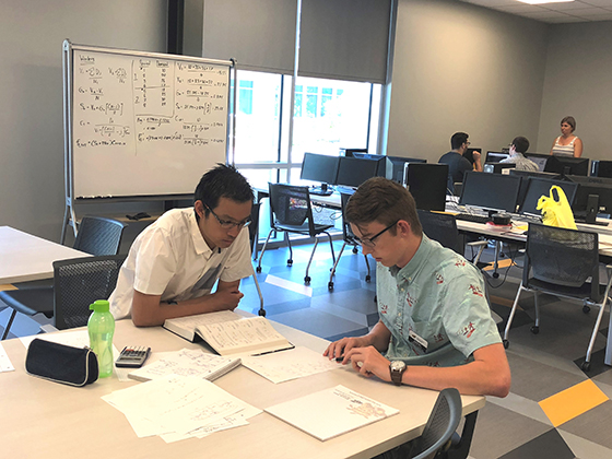 Students study and receive tutoring in the new GEEKS Tutoring Center.