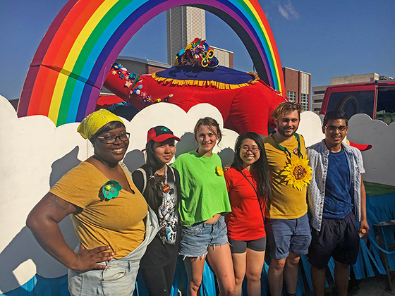 Mary Alexis Wirths and her fellow interns created an unique float for the 2018 Riverfest Parade with resident artist Jooyoung Choi.