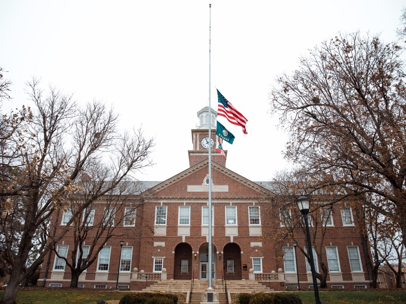 Flags flying at half staff