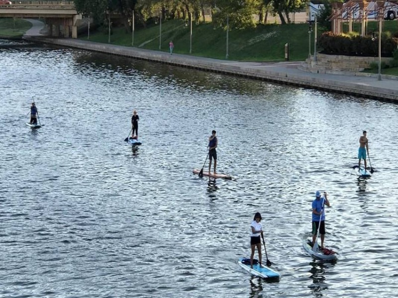 Paddle boards on the Arkansas River