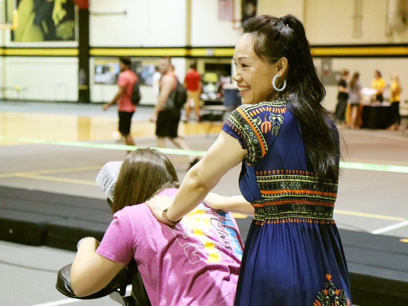A student gets a massage at RecFest