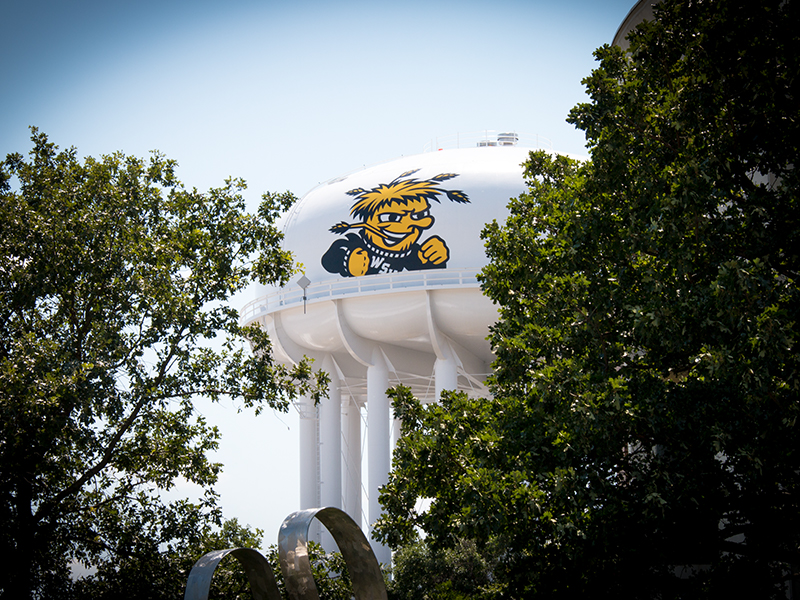 View of the Wichita State University's water tower on campus.