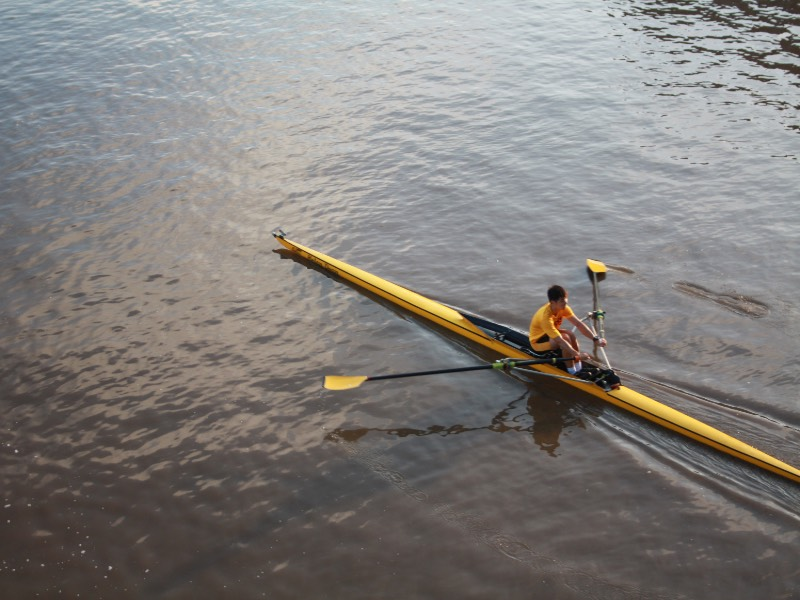 Shocker rowers practice on the Arkansas River.