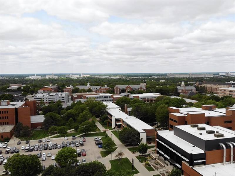 A view of campus, overlooking the Engineering Building and Ahlberg Hall.
