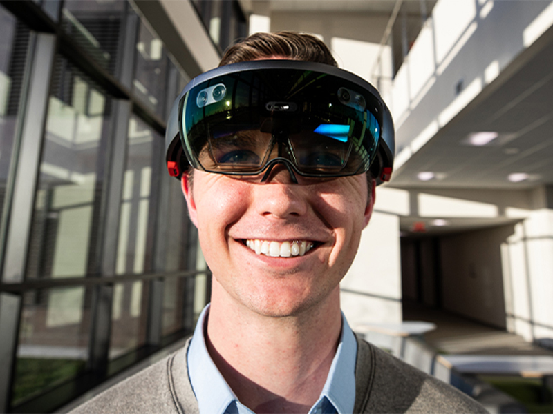 Dane Laughlin wearing a VR headset.