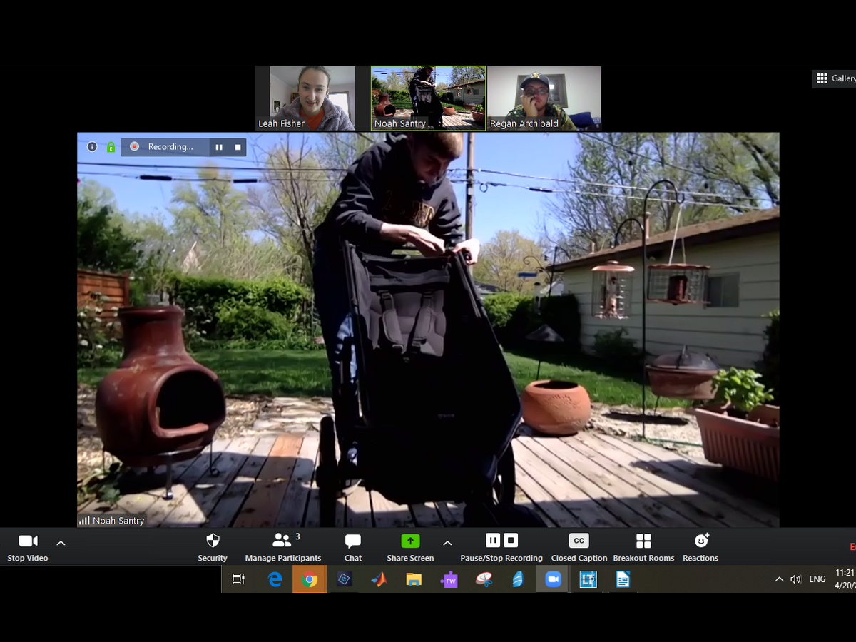 Wichita State College of Engineering students met through zoom to build all-terrain stroller