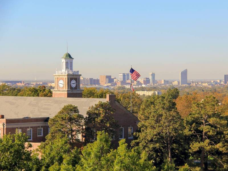 Campus with downtown in the background
