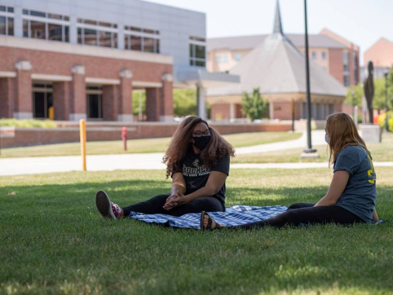 Two students on the WSU campus