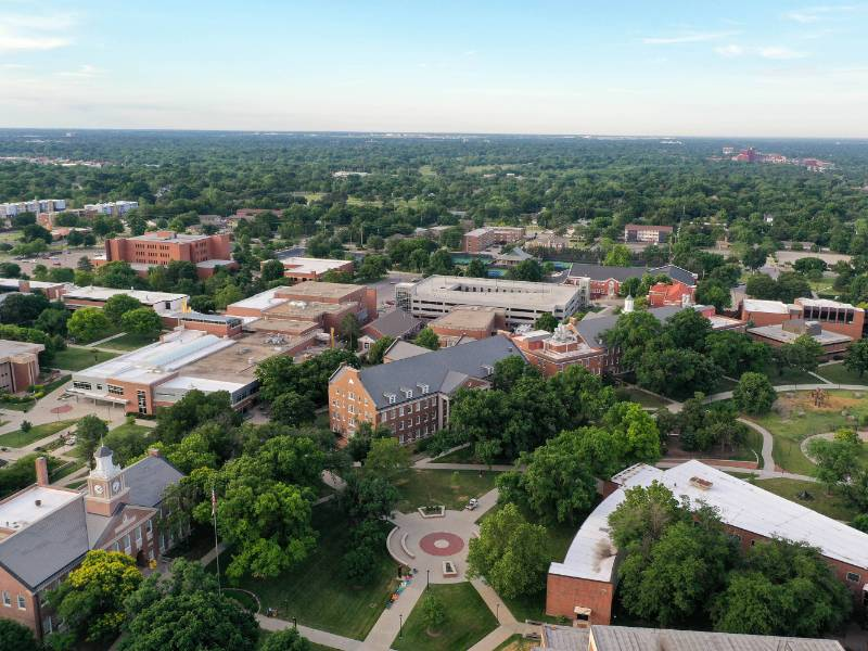 An aerial view of the Wichita State University Campus.