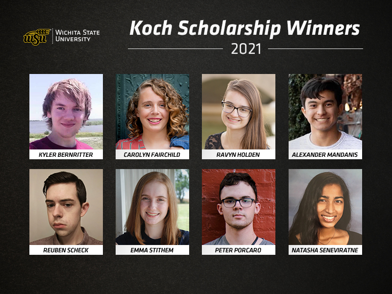 The Wichita State University Dorothy and Bill Cohen Honors College is proud to announce eight recipients of the Koch Scholars Program for the fall 2021 semester. These recipients each will be awarded $30,000 over four years.