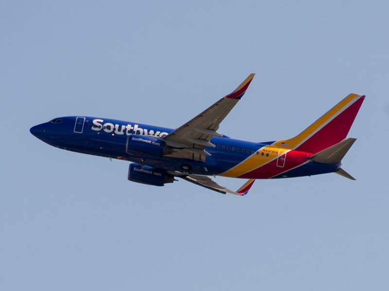 Southwest Airlines plane in the air