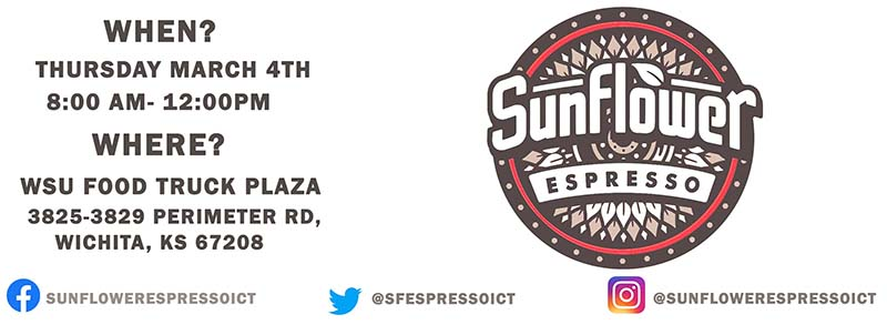 Two food trucks to be at the Food Truck Plaza on Thursday, March 4.  Sunflower Espresso with be serving tasty coffees and other beverages between 8 a.m. to noon.  Dr. Tawook is a new authentic Mediterranean food truck that uses locally grown ingredients. Dr. Tawook will be here between 11 a.m. to 1:30 p.m.