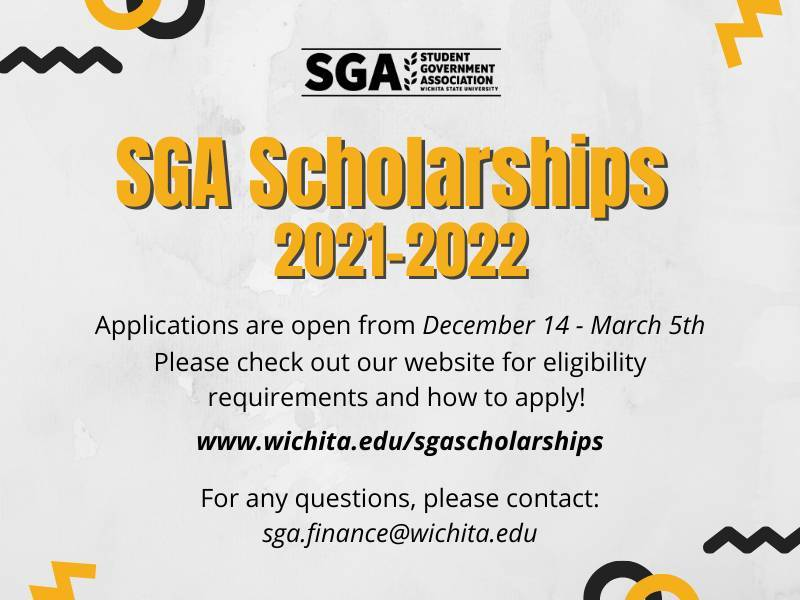 "Gray background with the SGA logo at the top in black text below is ""SGA Scholarships 2021-2022"" in yellow text. Below that is the information that is included in the posting in black text."
