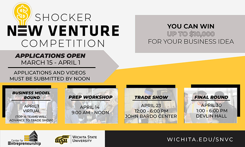 Shocker New Venture Competition. You can win up tp $10,000 for your business idea. Applications open March 15 - April 1. Applications and videos must be submitted by noon. Business model round, April 1, virtual (top 16 teams will advance to trade show). Prep Workshop, April 14 9:00 am - noon. Trade show April 23 12:00 - 6:00pm John Bardo Center. Final round April 30, 1:00 - 6:00 pm Devlin Hall. Center For Entrepreneurship. Wichita State University. Wichita.edu/snvc
