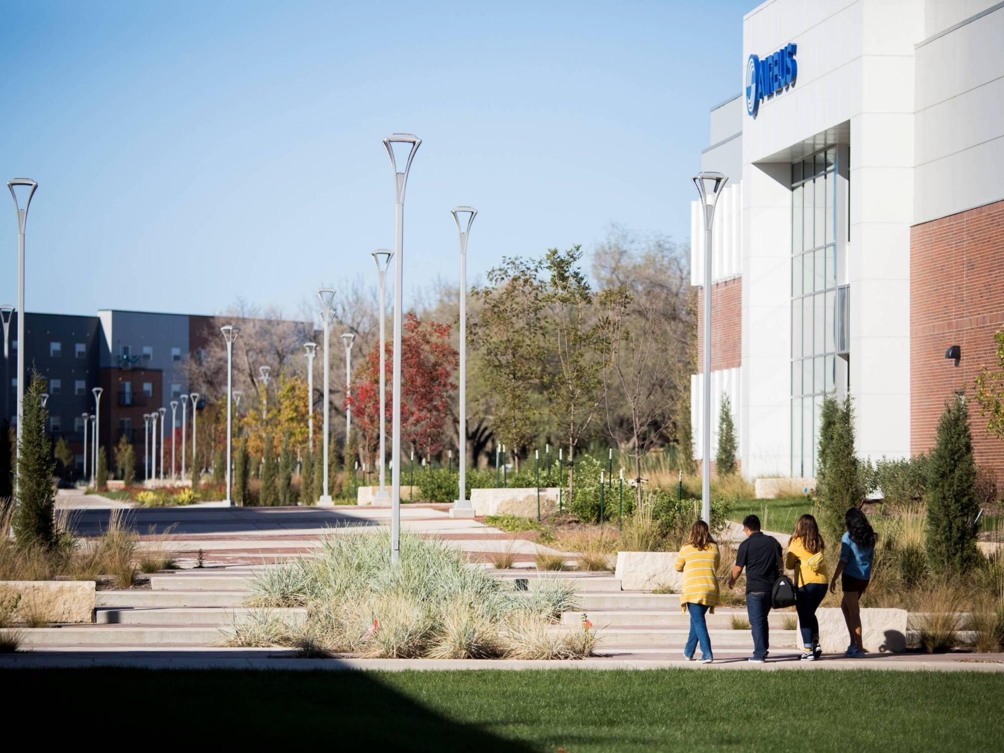 Students walking through innovation campus.