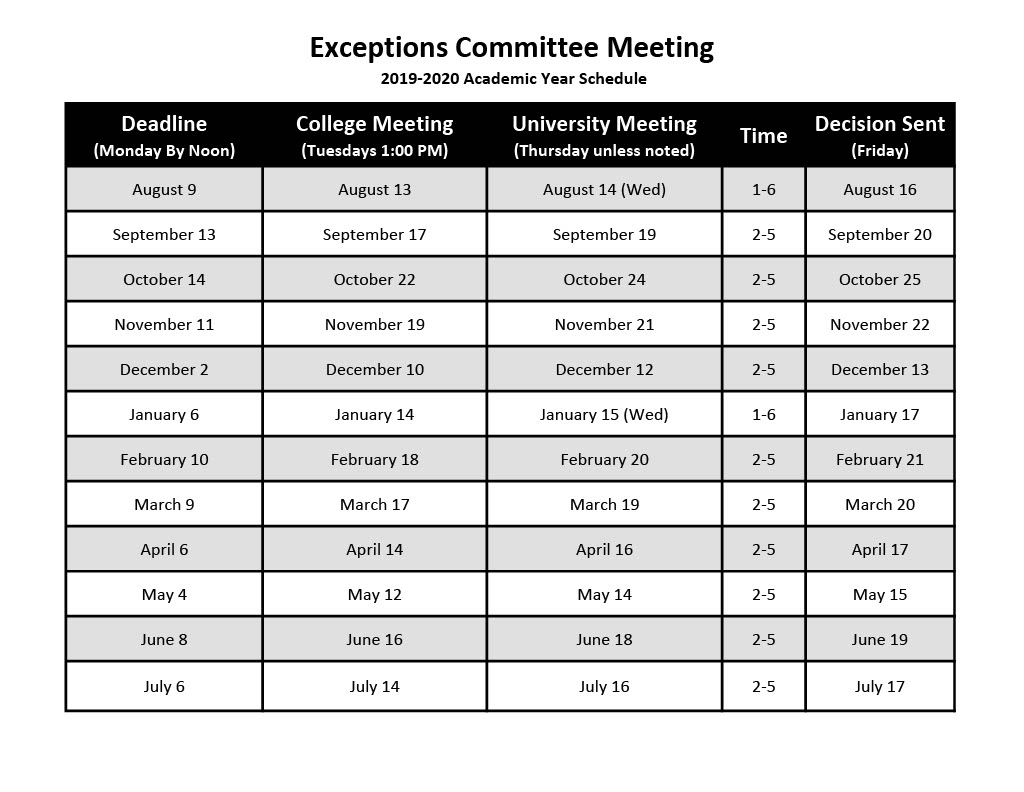 University Exceptions Meeting Schedule