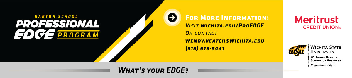 Professional edge footer banner. Contact Wendy Veatch at wendy.veatch@wichita.edu or 316-978-3441 for more information on Professional Edge.