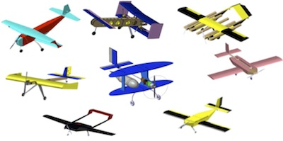 Header graphic of a variety of CG-modeled aircraft.
