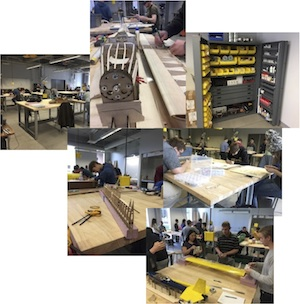 Photo montage of the AE deparment projects and prototyping lab.