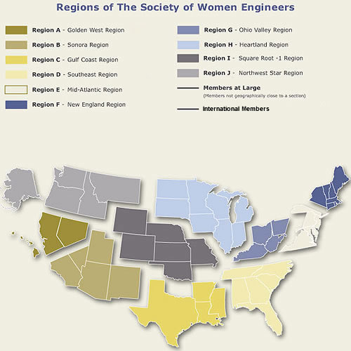 Graphic illustrating the regions of the Society of Women Engineers.