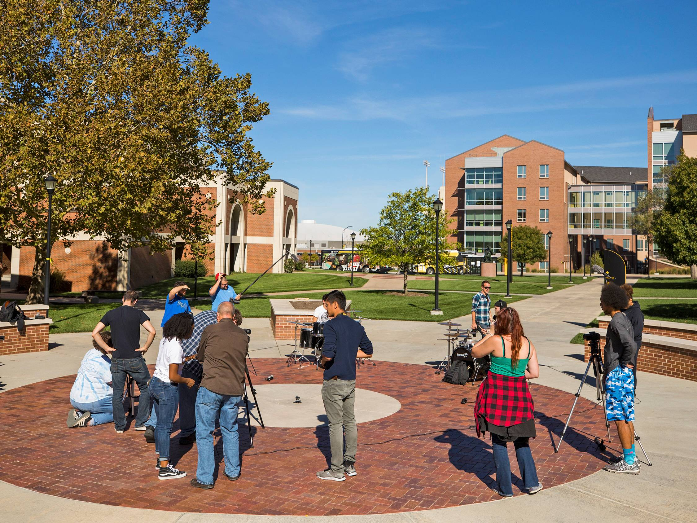 Fairmount college students taking video on campus