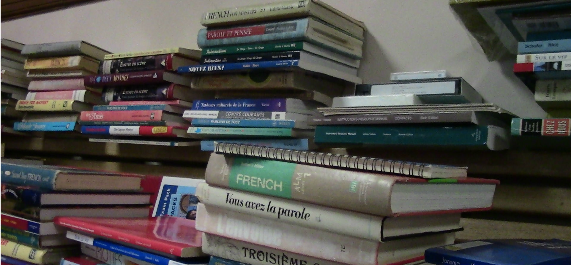 Photo of a number of stacks of international language books.