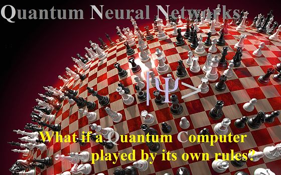 "round chess board with text ""What if a Quantum Computer played by its own rules?"""