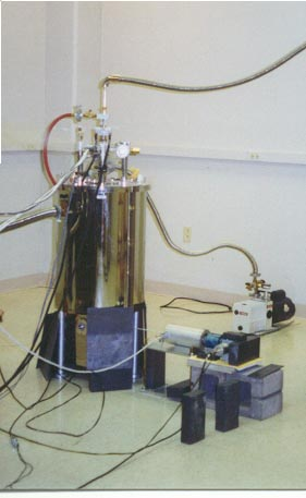 photo of a cryostat in the condensed matter lab