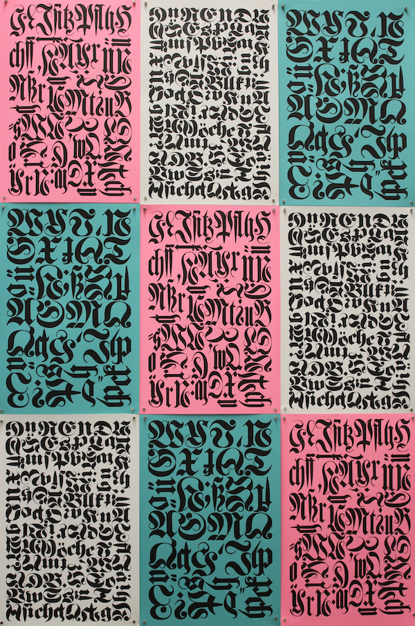 """Blackletter Patchwork,"" a series of letterpress printed panels on pink, teal, and gray paper."