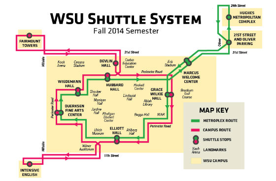 Diagram of the Shuttle System routes and stops.
