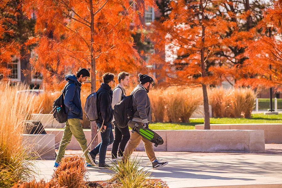 Students Walking in Fall Weather