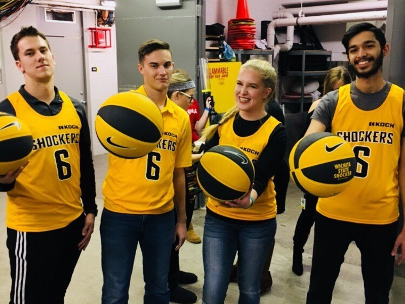 students with shocker basketballs