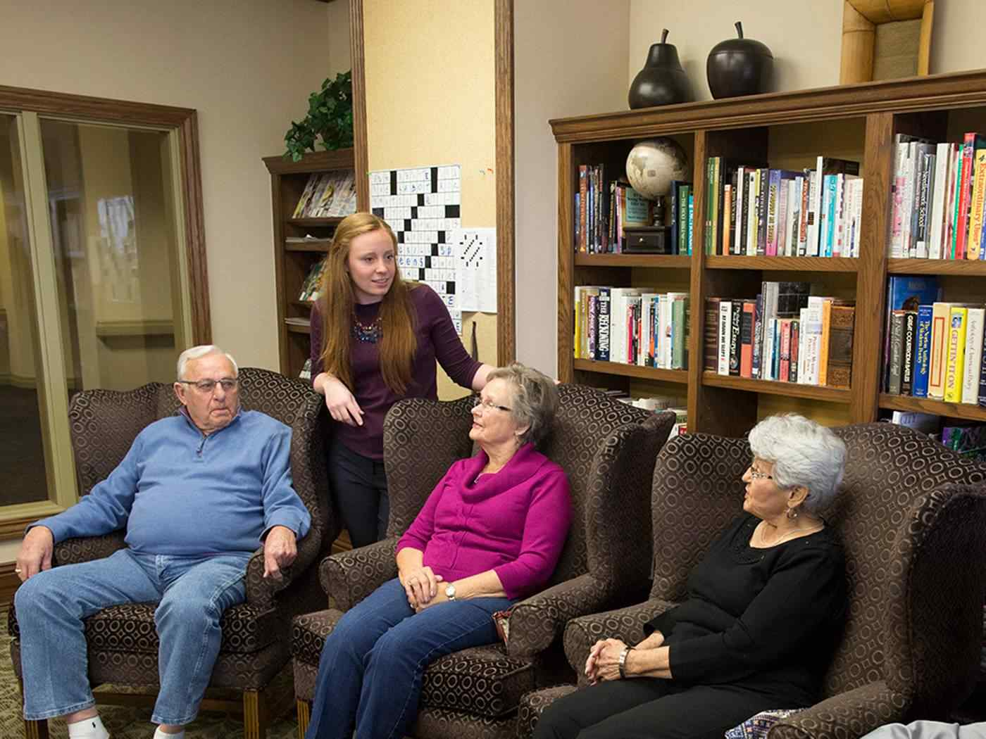 Student gathers with elder patients