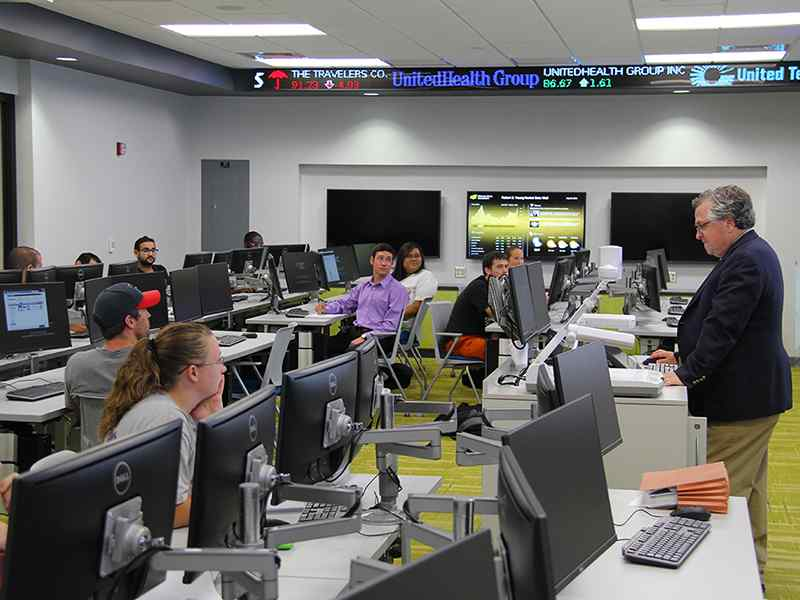 The Koch Global Trading Center lets students learn about the Stock Market in real-life scenarios.