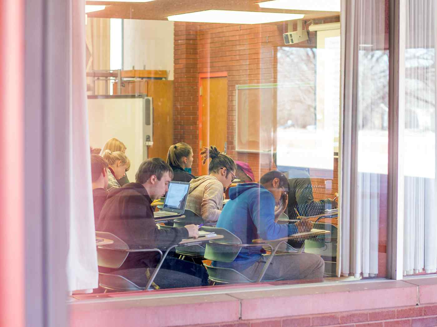 Students studying in class.