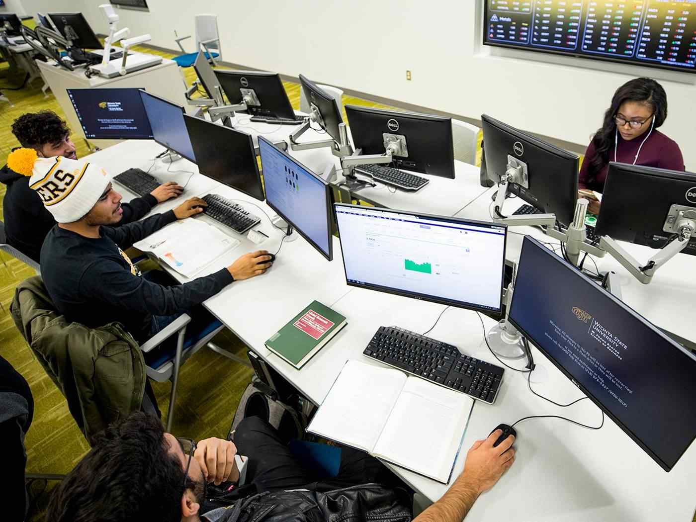 Students work in the Koch Trading Center